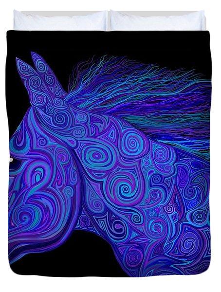 Colorful Blue Stallion Duvet Cover