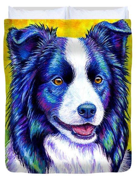 Colorful Border Collie Dog Duvet Cover
