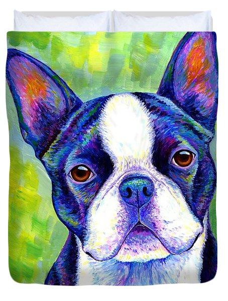Colorful Boston Terrier Dog Duvet Cover