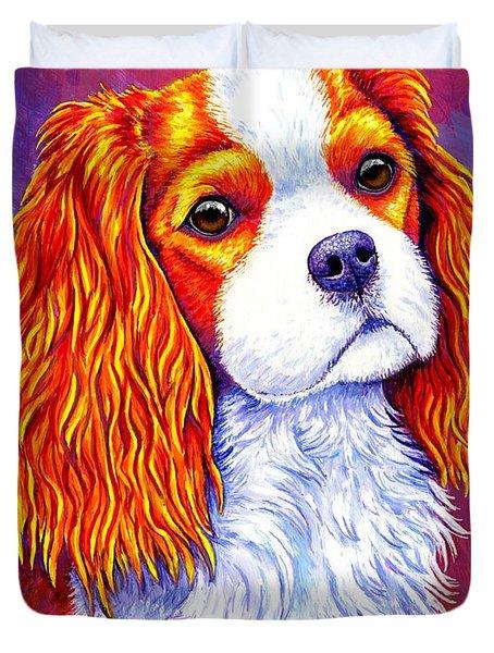 Colorful Cavalier King Charles Spaniel Dog Duvet Cover