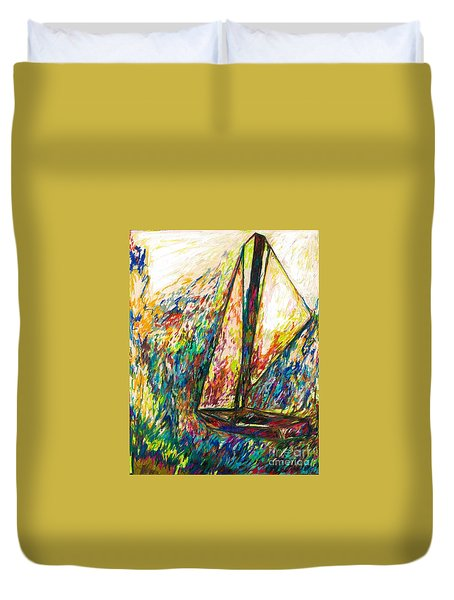 Colorful Day On The Water Duvet Cover