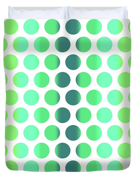 Colorful Dots Pattern - Polka Dots - Pattern Design 3 - Turquoise, Teal, Blue, Green, Aqua Duvet Cover