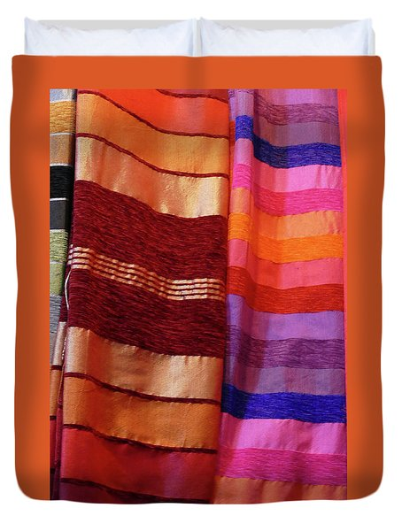 Colorful Fabrics In The Medina Market  Duvet Cover