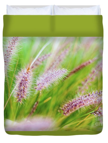 Colorful Flowers In Purple Spikes, Purple Fountain Grass, Close- Duvet Cover