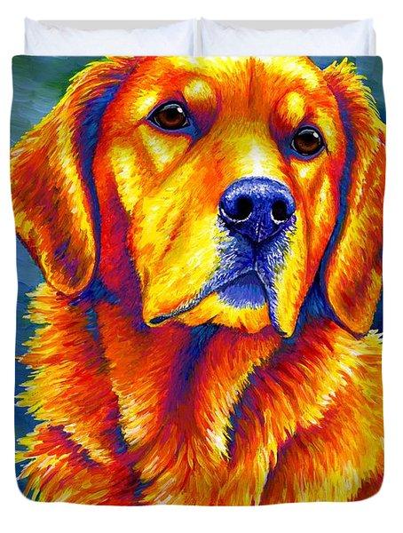 Colorful Golden Retriever Dog Duvet Cover