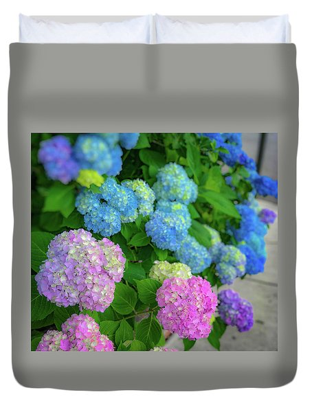 Duvet Cover featuring the photograph Colorful Hydrangeas by Lora J Wilson