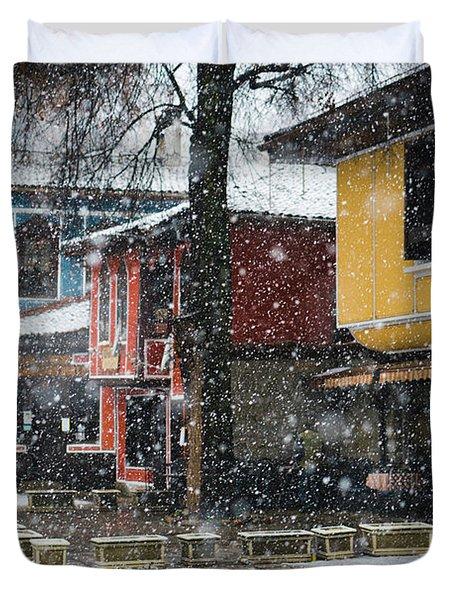 Colorful Koprivshtica Houses In Winter Duvet Cover