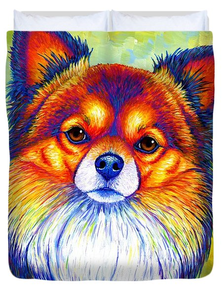 Colorful Long Haired Chihuahua Dog Duvet Cover