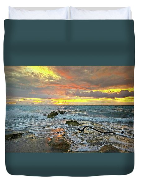 Colorful Morning Sky And Sea Duvet Cover