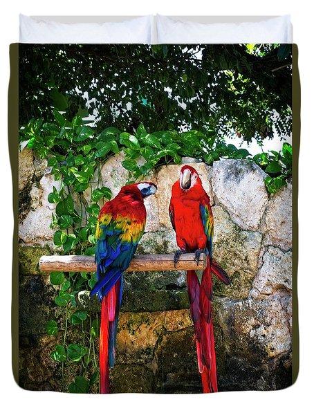Colorful Parrots Duvet Cover