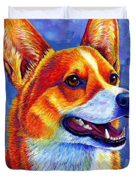 Colorful Pembroke Welsh Corgi Dog Duvet Cover