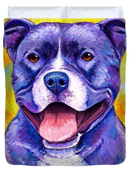 Colorful Pitbull Terrier Dog Duvet Cover