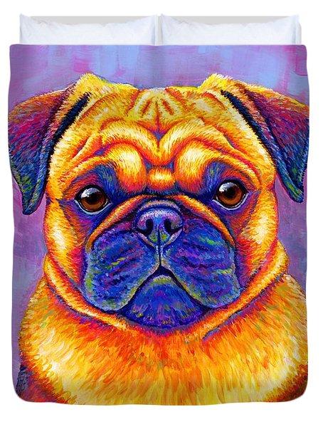 Colorful Rainbow Pug Dog Portrait Duvet Cover