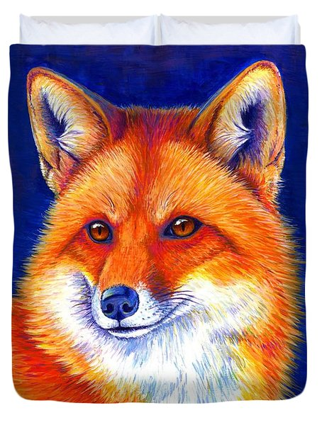 Colorful Red Fox Duvet Cover