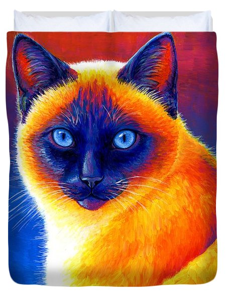 Jewel Of The Orient - Colorful Siamese Cat Duvet Cover