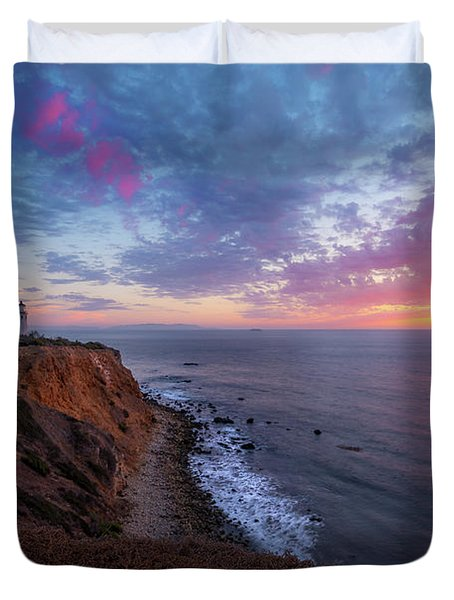 Colorful Sky After Sunset At Point Vicente Lighthouse Duvet Cover