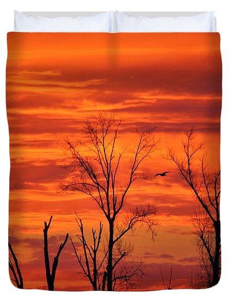 Colorful Sunrise Trees Duvet Cover