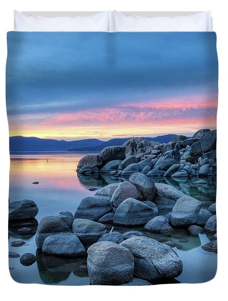 Colorful Sunset At Sand Harbor Duvet Cover