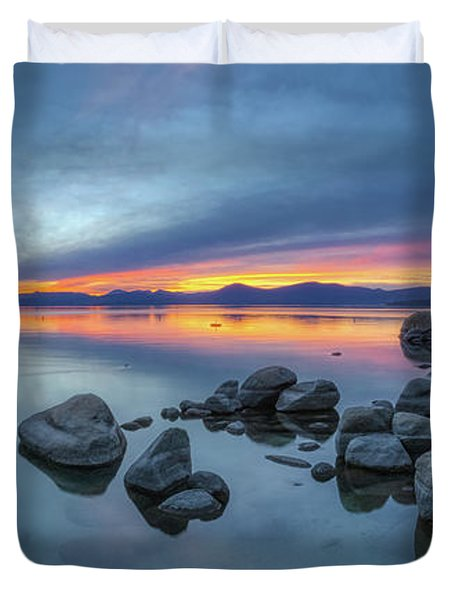 Colorful Sunset At Sand Harbor Panorama Duvet Cover