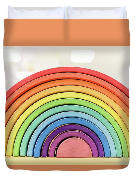 Colorful Waldorf Wooden Rainbow In A Montessori Teaching Pedagogy Classroom. Duvet Cover