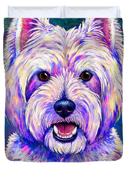 Colorful West Highland White Terrier Blue Background Duvet Cover