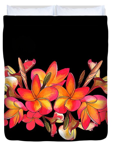 Coloured Frangipani Black Bkgd Duvet Cover