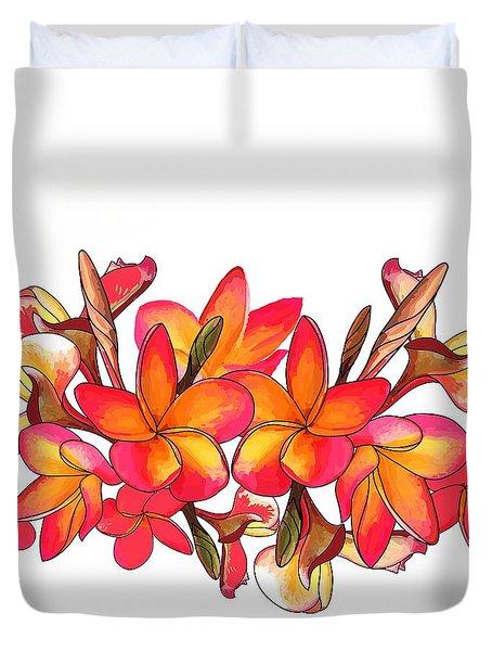 Coloured Frangipani White Bkgd1 Duvet Cover