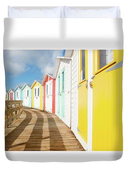 Colourful Bude Beach Huts Duvet Cover