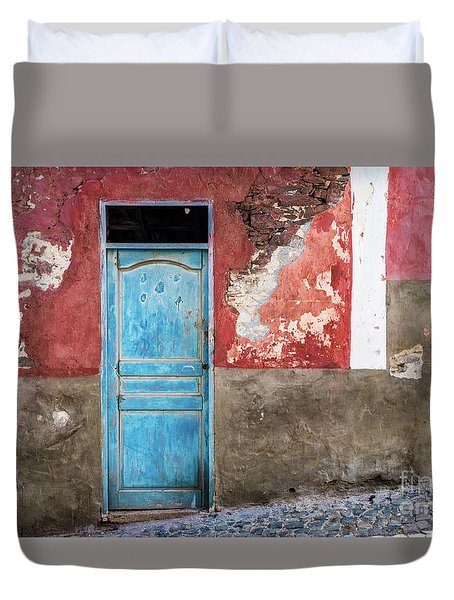 Colorful Wall With Blue Door Duvet Cover