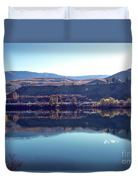 Duvet Cover featuring the photograph Train Reflection by Mae Wertz
