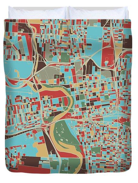Columbus Map Retro 3 Duvet Cover