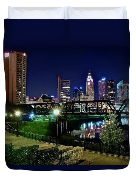 Columbus Night On The Scioto Riverfront Duvet Cover