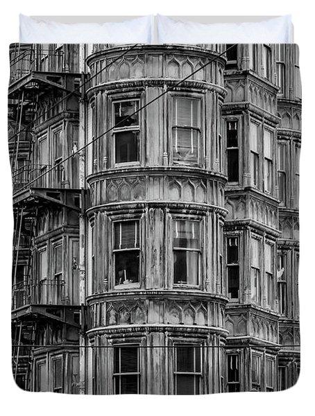 Columbus Tower Black And White Duvet Cover