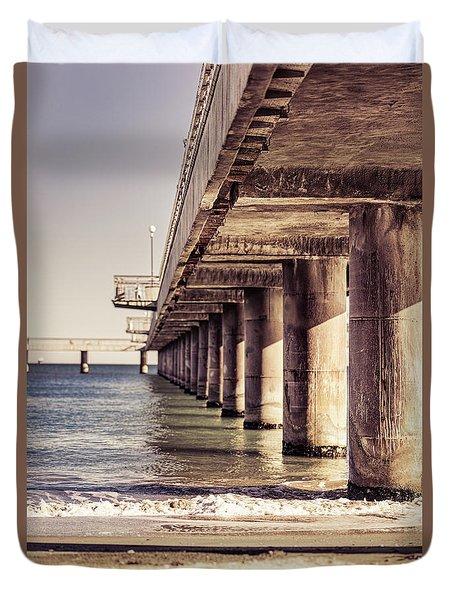 Columns Of Pier In Burgas Duvet Cover