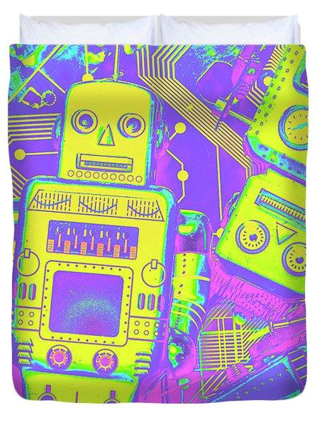 Comic Circuitry Robots Duvet Cover