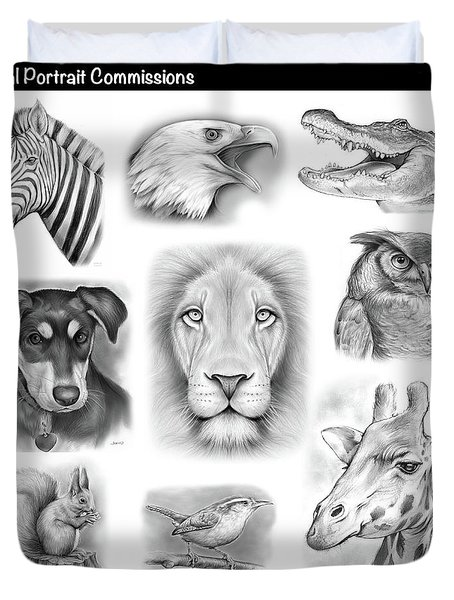 Commissioned Animal Portraits Duvet Cover