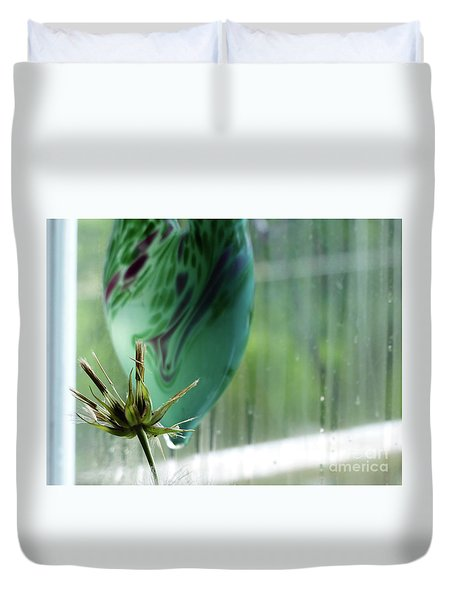 Composition In Green Duvet Cover
