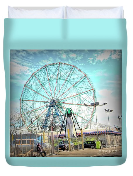 Coney Island Wonder Wheel Ny Duvet Cover