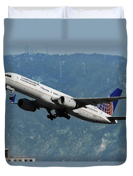 Continental Airlines And American Flag Duvet Cover
