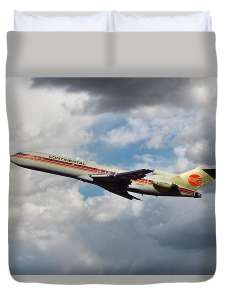 Continental Airlines Boeing 727 Takeoff At Lax Duvet Cover