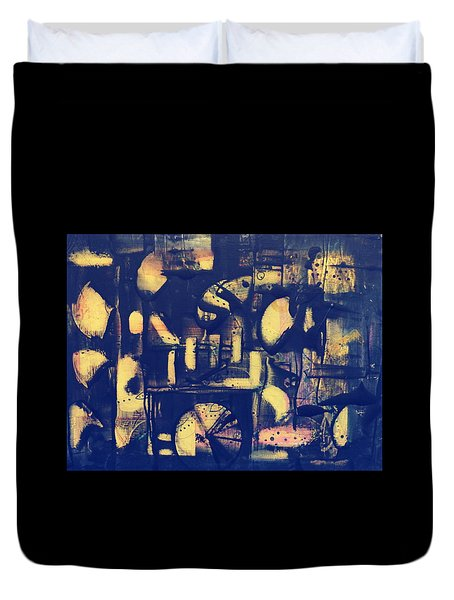 Duvet Cover featuring the painting Contraption by 'REA' Gallery
