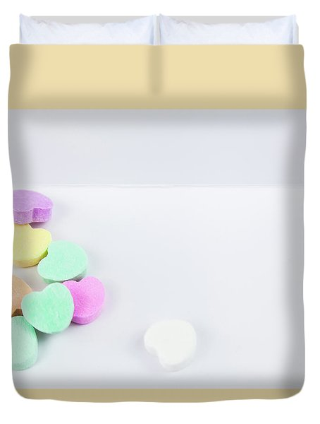 Conversation Hearts On A Notecard Duvet Cover