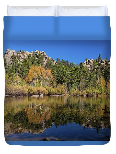 Duvet Cover featuring the photograph Cool Calm Rocky Mountains Autumn Reflections by James BO Insogna