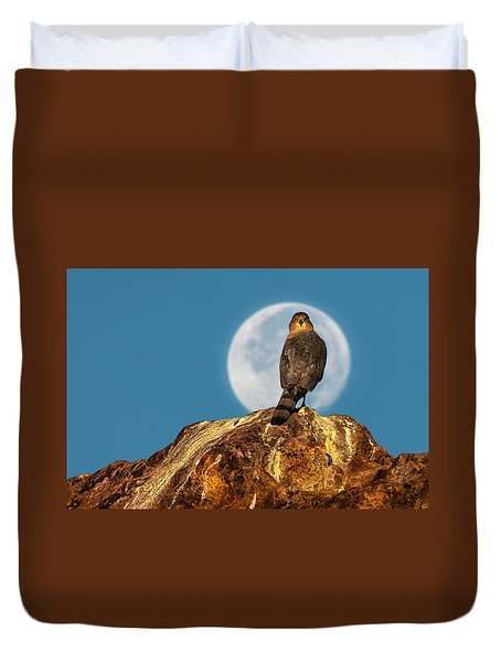 Coopers Hawk With Moon Duvet Cover