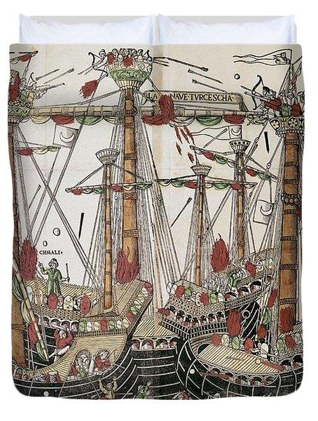 Copper-engraving The Battle Of Zonchio 1499. Duvet Cover