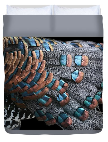 Duvet Cover featuring the photograph Copper-tipped Ocellated Turkey Feathers Photograph by Debi Dalio