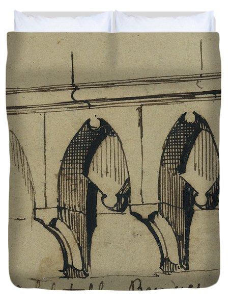 Corbel Table - Benieves, France Duvet Cover