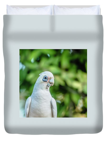Duvet Cover featuring the photograph Corellas Outside During The Afternoon. by Rob D