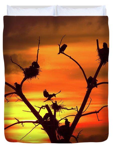 Cormorant Nest Building Time Duvet Cover