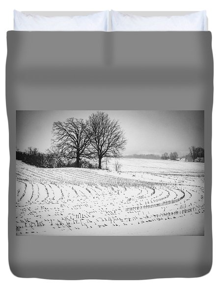 Duvet Cover featuring the photograph Corn Snow by Kendall McKernon